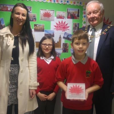 Staff and children with Mayor of Preston