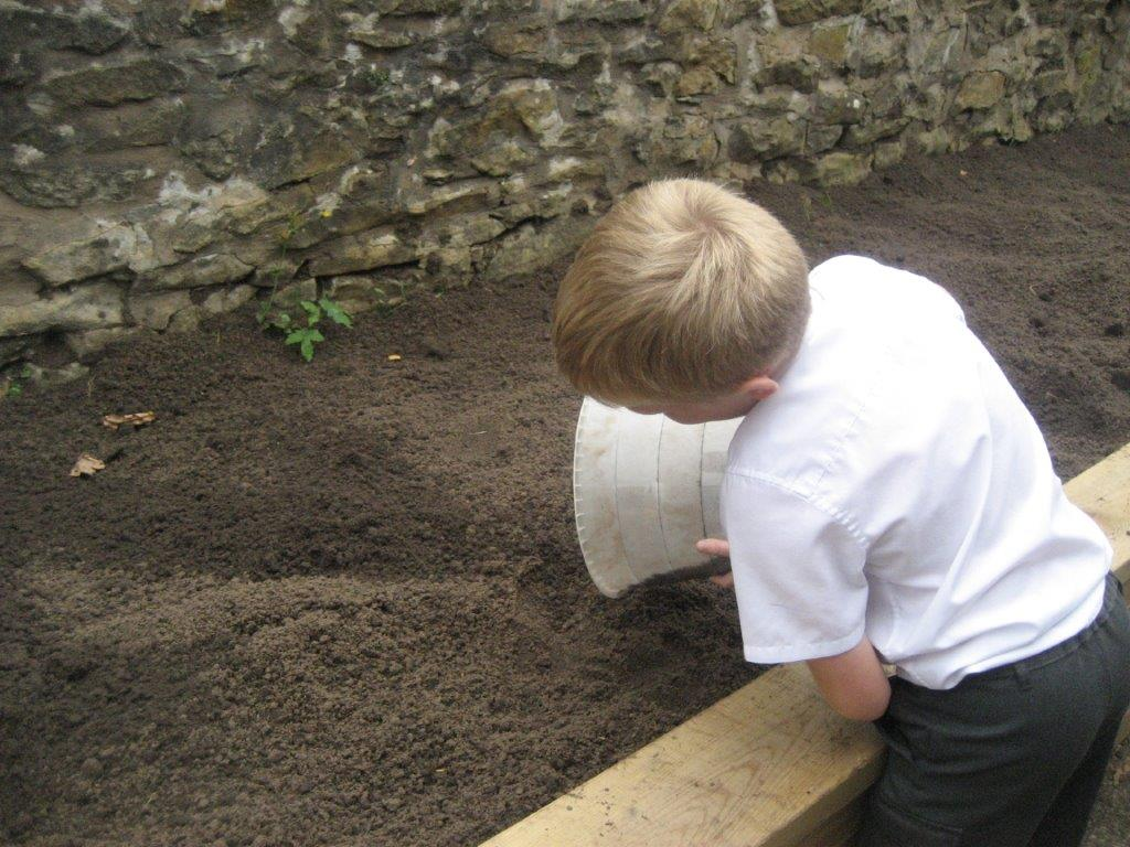 child pouring soil planting