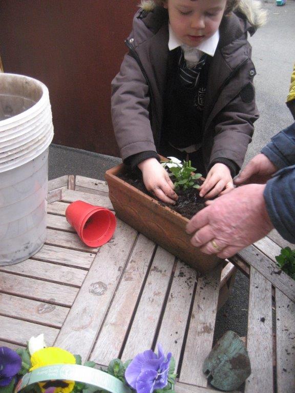 child planting after school club
