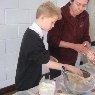 baking staff and child