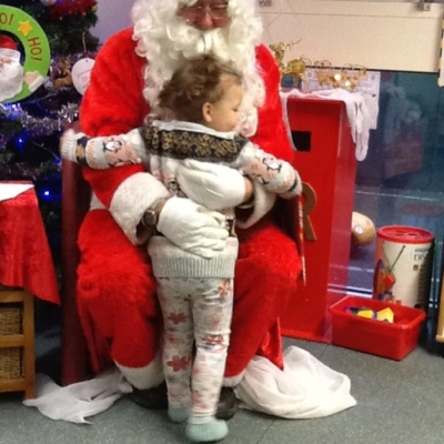 Visit from father christmas at nursery