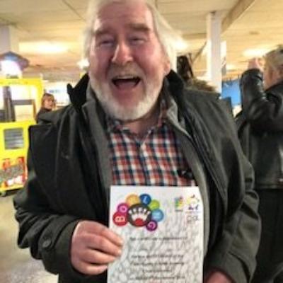 Staff member happy winner