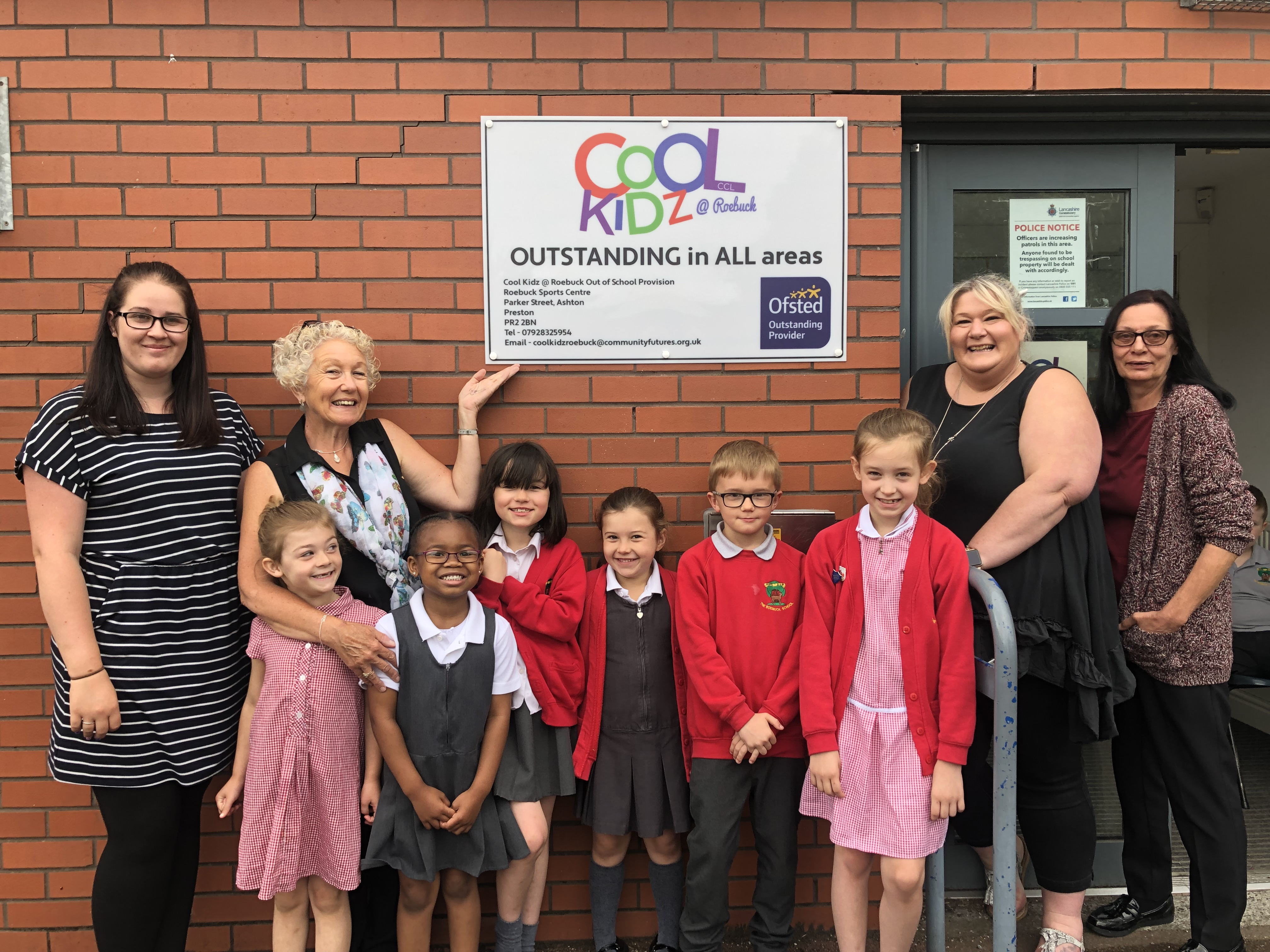 Cool Kidz Roebuck showing off their Ofsted outstanding sign