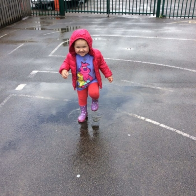 playing outside in rain