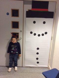 Christmas snowman door display